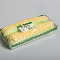 corn - cardboard tray with stretch film